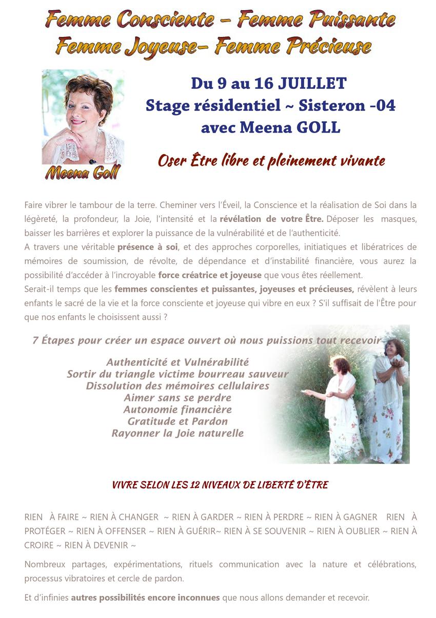 Femme Consciente-Femme Puissante stage avec Meena Goll du 9 au 16 juillet - Sisteron
