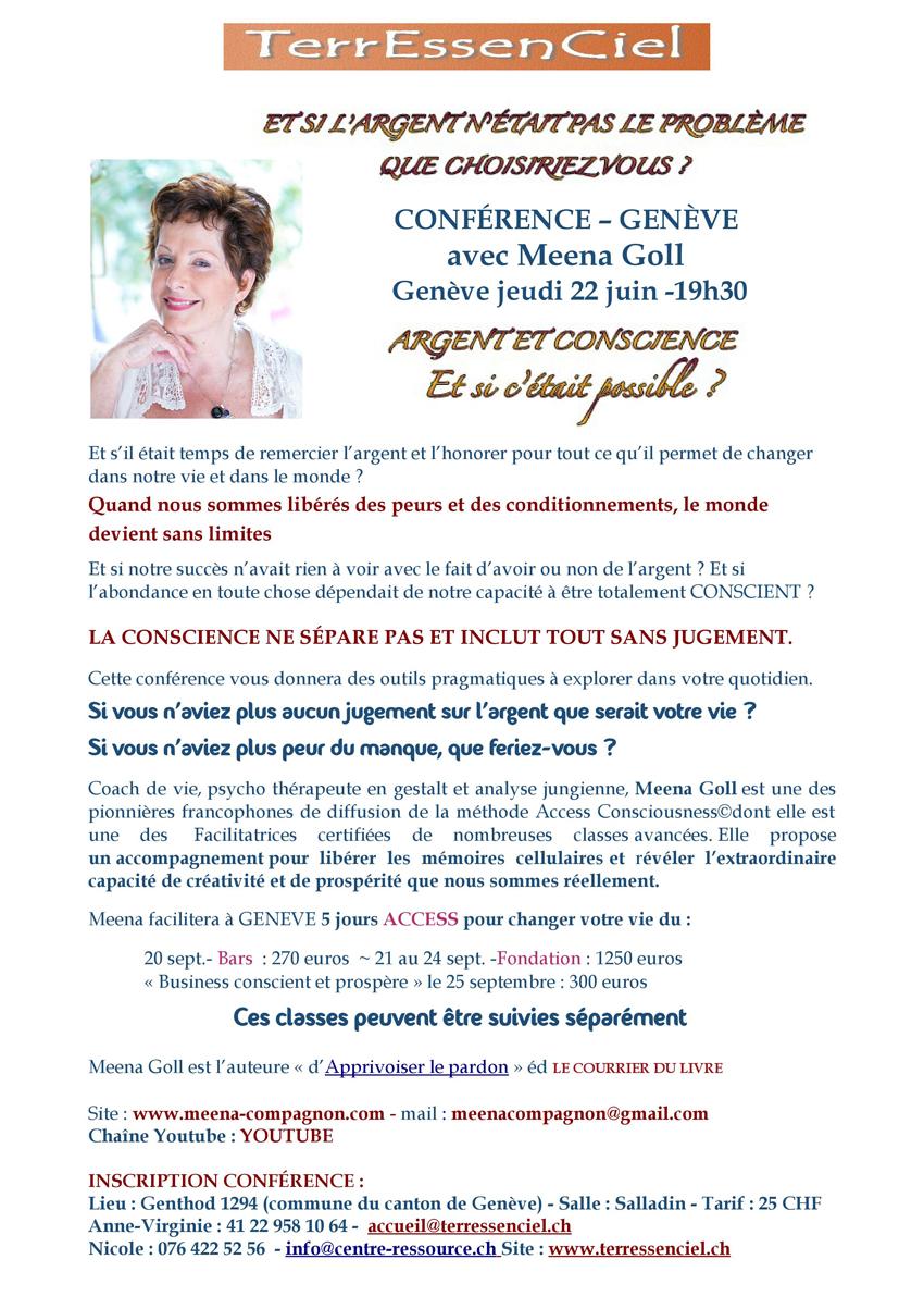 Conférence Argent et Conscience avec Meena Goll à Genève